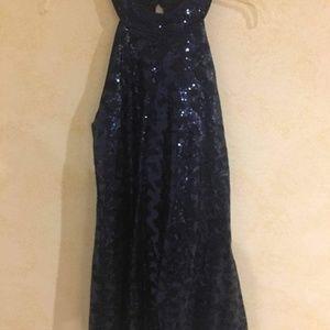 Navy Blue Seuqin Midi Formal Dress